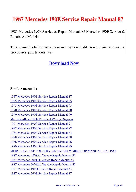 1987 mercedes 190e service repair manual 87 by lan huang for Mercedes benz r129 service repair workshop manual