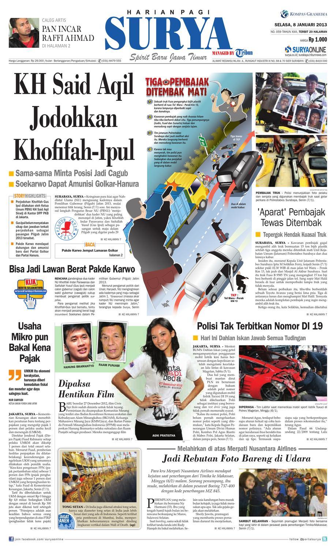E Paper Surya Edisi 08 Januari 2013 By Harian Issuu Rkb Bni Tegal Kranjang Buah Nur Fashion And Art