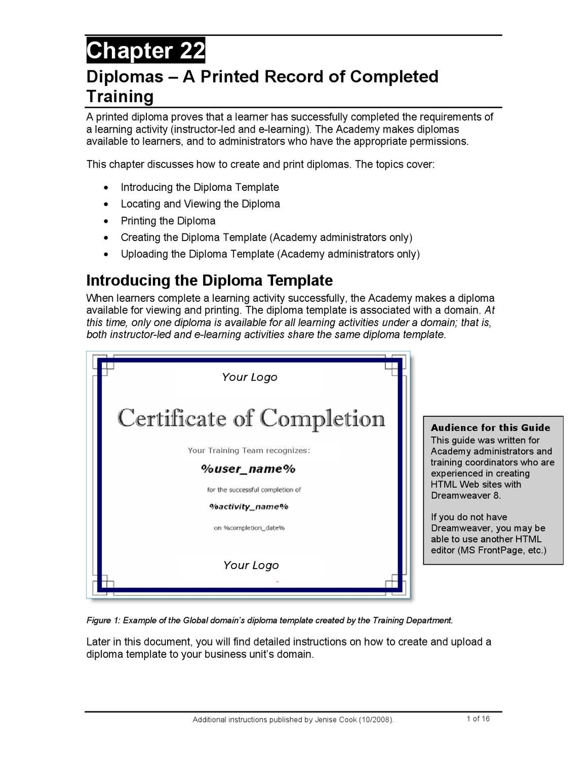 How to create a certificate of completion learner diploma in how to create a certificate of completion learner diploma in sumtotal systems totallms 72 by ridgeviewmedia jenise cook issuu yadclub Images