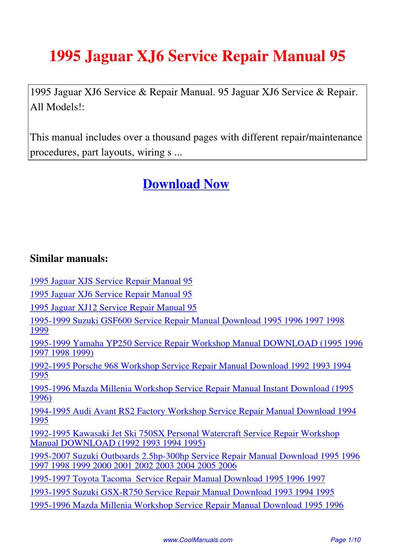 1995 Jaguar Xj6 Service Repair Manual 95 By Lan Huang