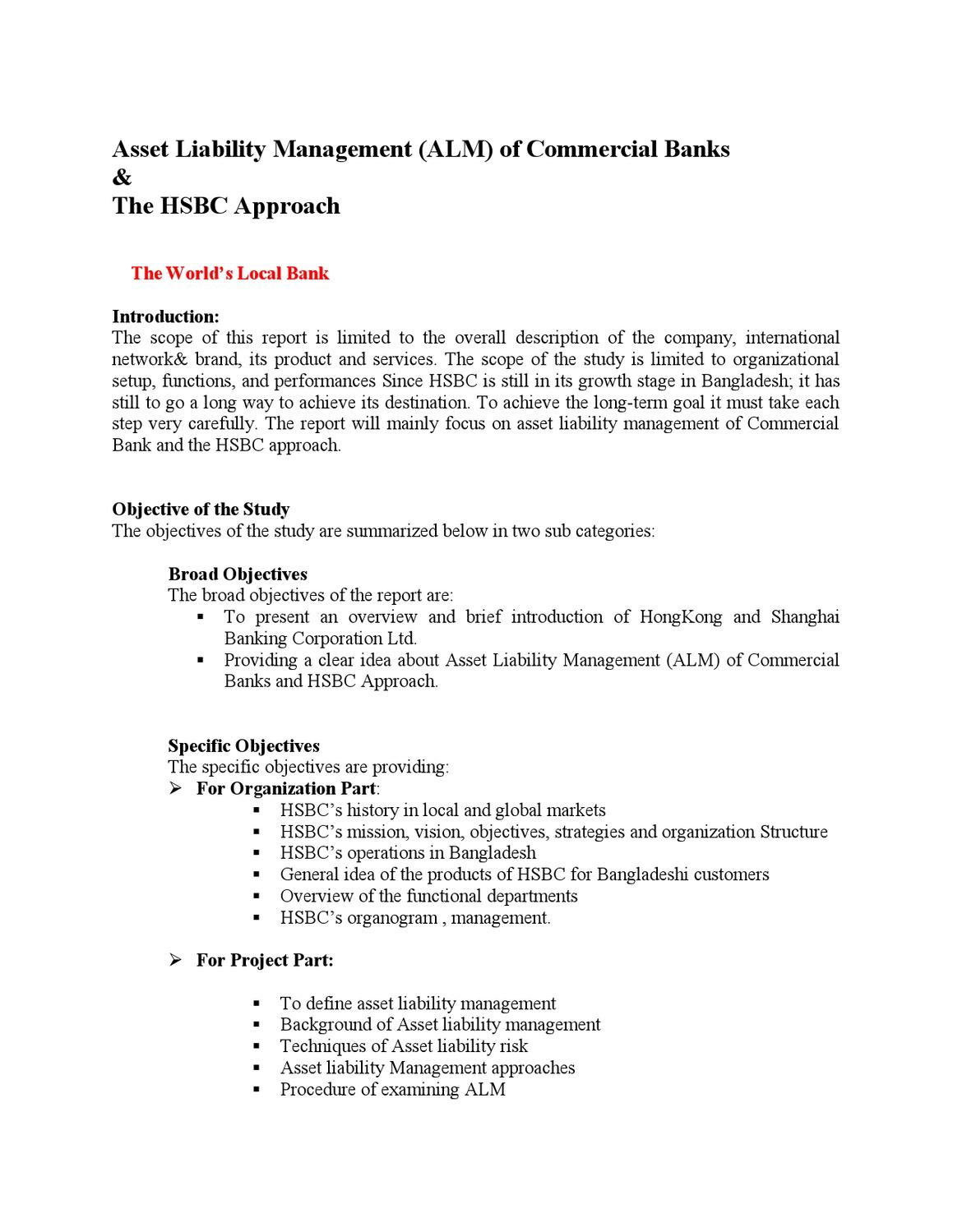 hsbc asset liability management by zahid hossain issuu - World Vision Organizational Structure