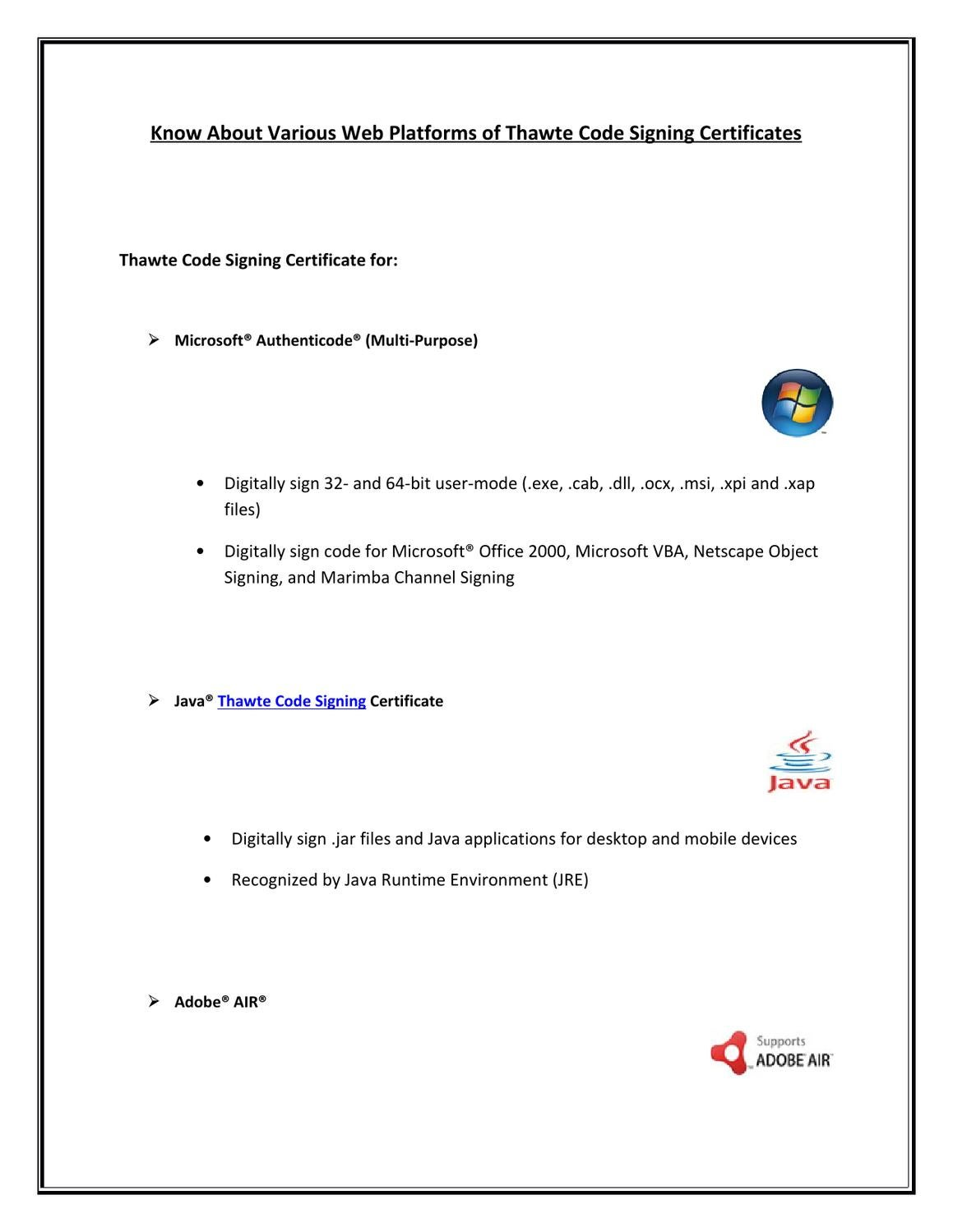 Thawte Code Signing Certificate For Java Adobe Mac Ms Vba
