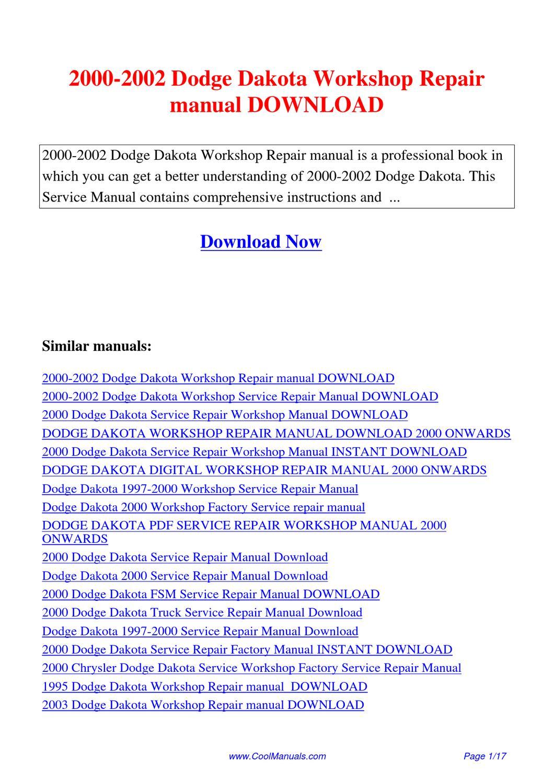 2000 2002 Dodge Dakota Workshop Repair Manual By Lan Huang border=