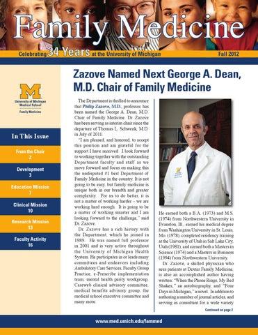 UM Family Medicine Fall 2012 Newsletter by Kristen Ochomogo