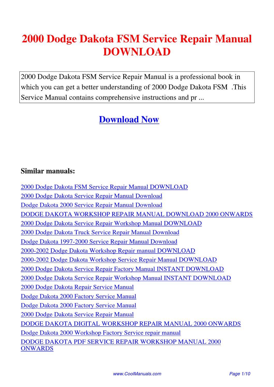 2000 dodge dakota fsm service repair manual by lan huang