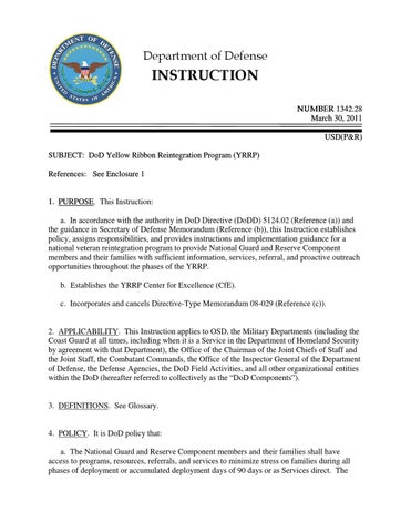 Dod Yellow Ribbon Reintegration Instruction By Navy Expeditionary
