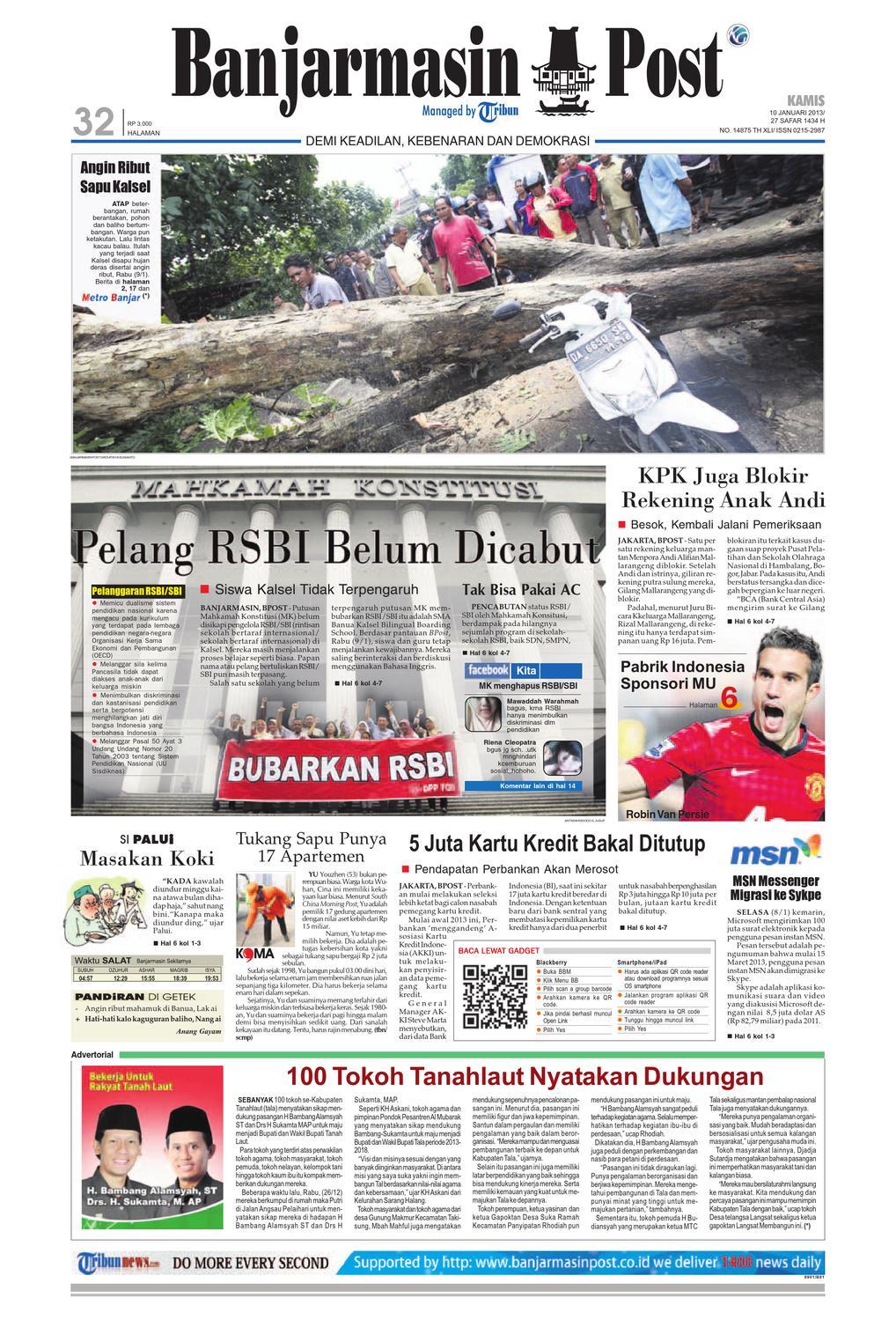Banjarmasin Post Selasa 9 Juli 2013 By Issuu Fcenter Lemari Pakaian Wd Hk 1802 Sh Jawa Tengah Edisi Kamis 10 Januari
