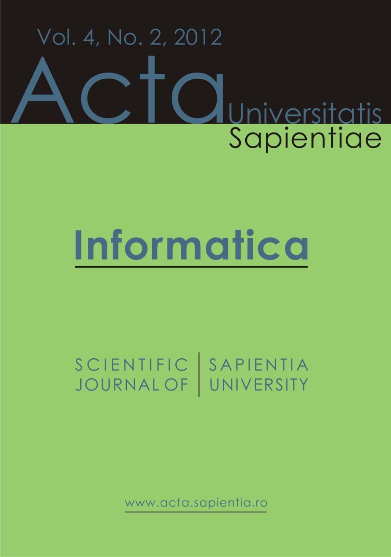 Informatica Vol  4, No  2, 2012 by Acta Universitatis