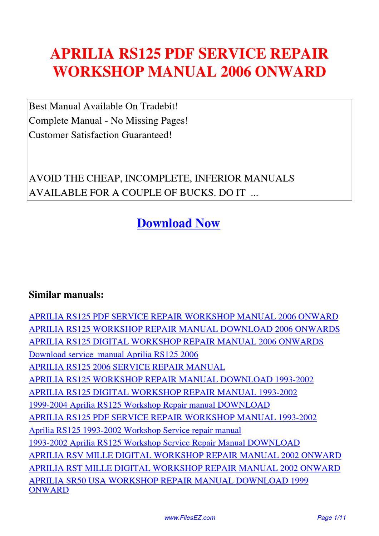 Aprilia Rs125 Service Repair Workshop Manual 2006 Onward