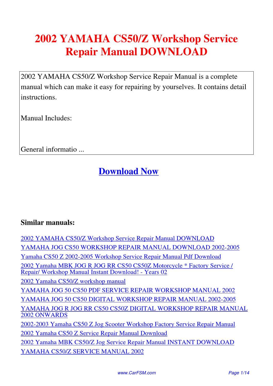 2002 yamaha cs50 z workshop service repair manual by hui. Black Bedroom Furniture Sets. Home Design Ideas