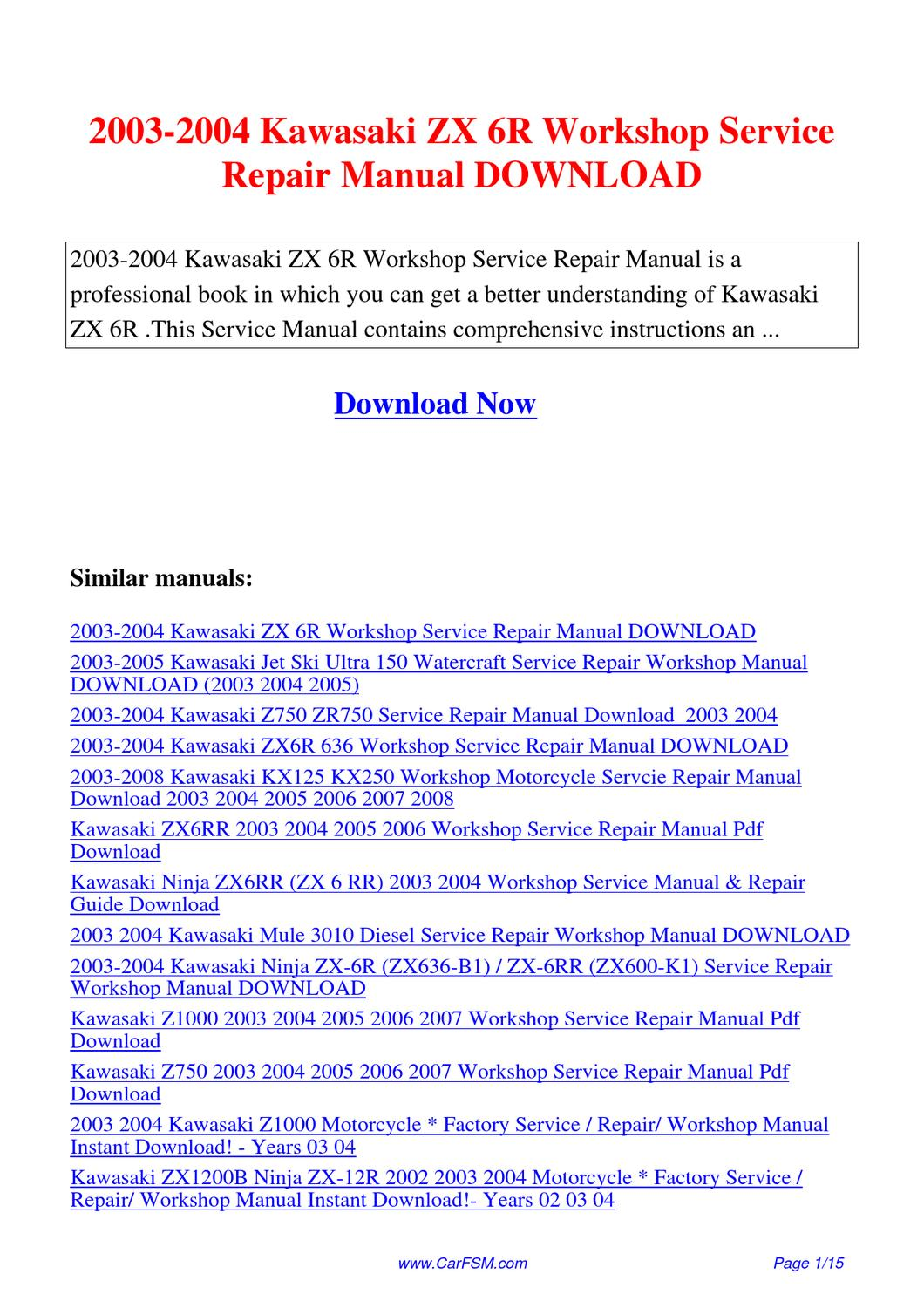 2005 Kawasaki Zx6r Service Manual Today Guide Trends Sample 2004 Ninja 636 Engine Diagram 2003 Zx 6r Workshop Repair By Owners