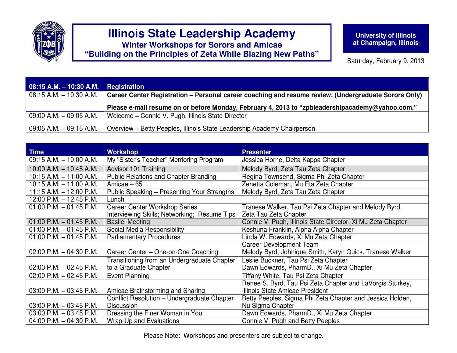 illinois state leadership academy workshops 2013 by zeta