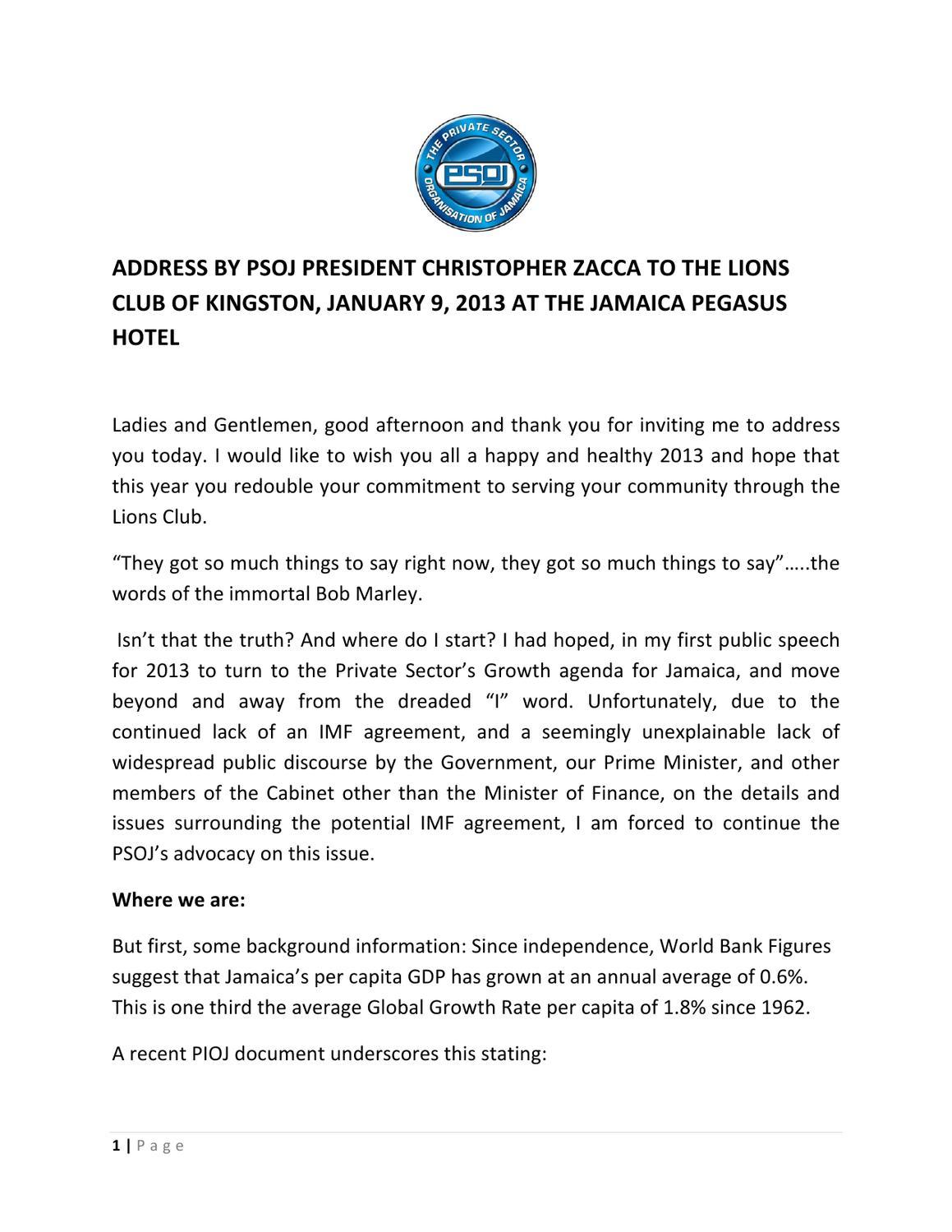 Psoj president speech january 9 2013 by dig jamaica issuu sciox Choice Image