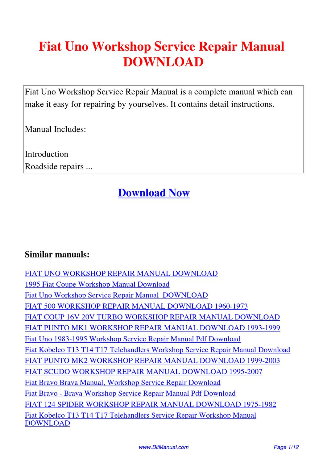 Fiat Uno Workshop Service Repair Manual By Lisa Fu