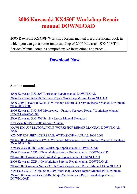 2006 Kawasaki Kx450f Workshop Repair Manual By Sam Lang