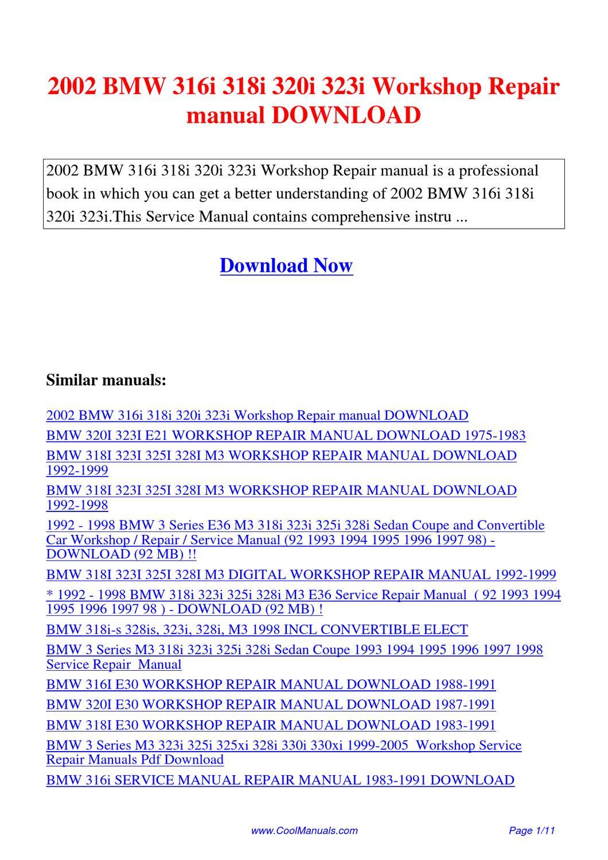 2002 Bmw 316i 318i 320i 323i Workshop Repair Manual By Lan