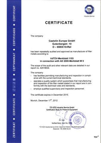 de-Zertifikat-Castolin-Europe-VDTUEV1153 by Castolin Eutectic - issuu