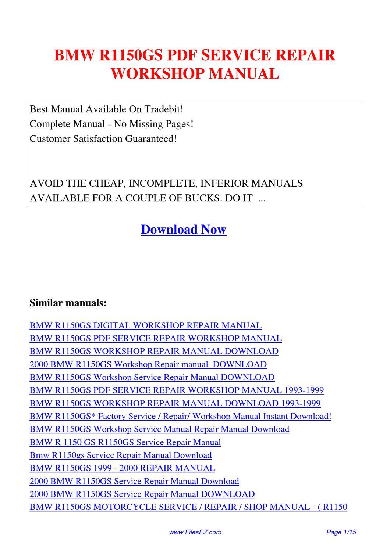 bmw r1150gs service repair workshop manual by jingle wong. Black Bedroom Furniture Sets. Home Design Ideas