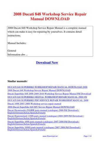 2008 ducati 848 workshop service repair manual by sam lang. Black Bedroom Furniture Sets. Home Design Ideas