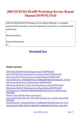 2003 suzuki dl650 workshop service repair manual by lan. Black Bedroom Furniture Sets. Home Design Ideas