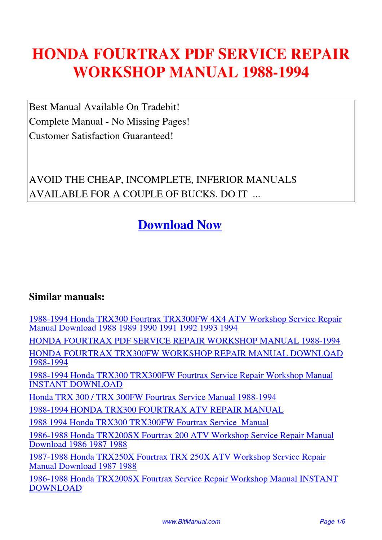 HONDA_FOURTRAX_SERVICE_REPAIR_WORKSHOP_MANUAL_1988-1994 by Lisa Fu - issuu