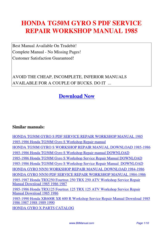 HONDA_TG50M_GYRO_S_SERVICE_REPAIR_WORKSHOP_MANUAL_1985 by Lisa Fu - issuu