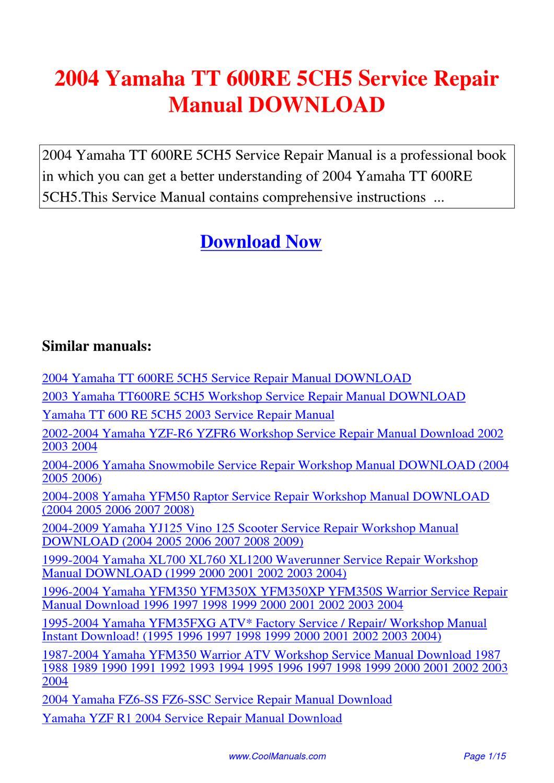 2004 Yamaha Tt 600re 5ch5 Service Repair Manual By Lan