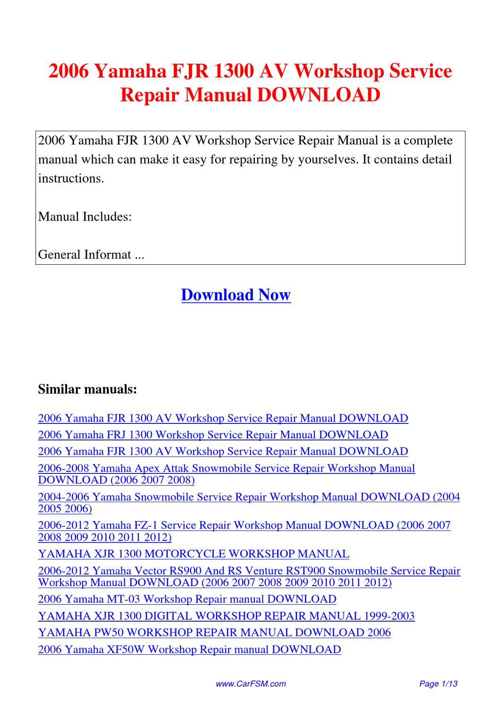 2006 yamaha fjr 1300 av workshop service repair manual by. Black Bedroom Furniture Sets. Home Design Ideas