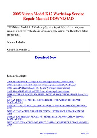 2005 nissan model k12 workshop service repair manual by. Black Bedroom Furniture Sets. Home Design Ideas