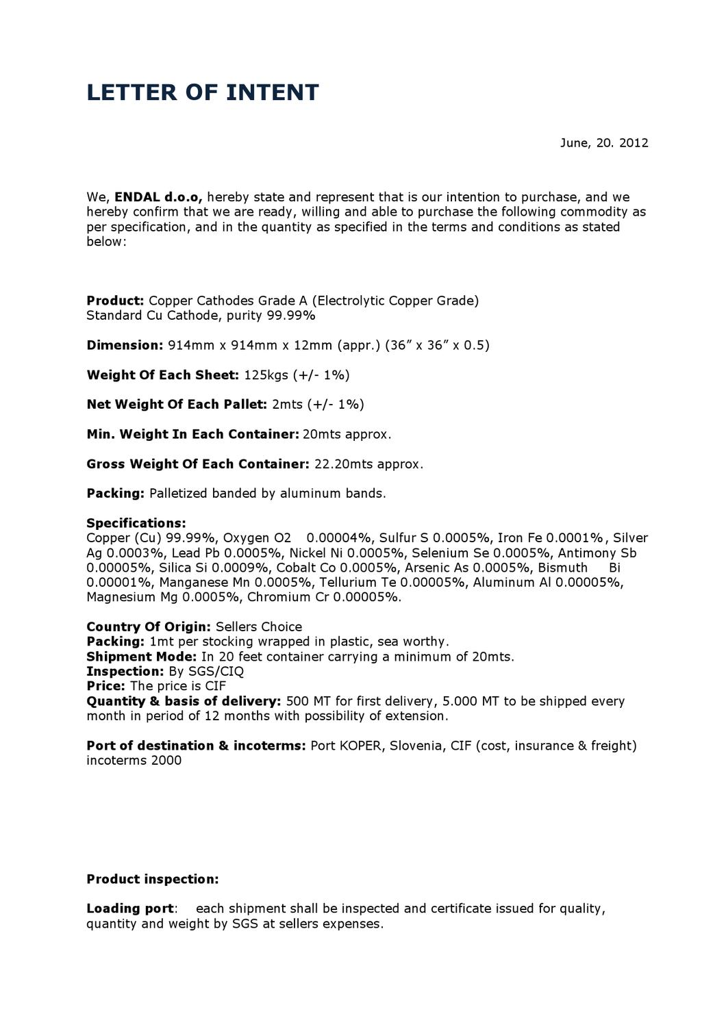 letter on intent letter of intent by justyna pietrus issuu 23105 | page 1