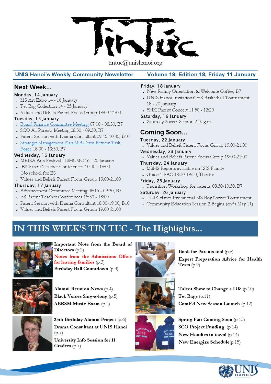 UNIS Hanoi Tin Tuc 18 Vol 19 TT 11 January 11 by UNIS Hanoi - issuu