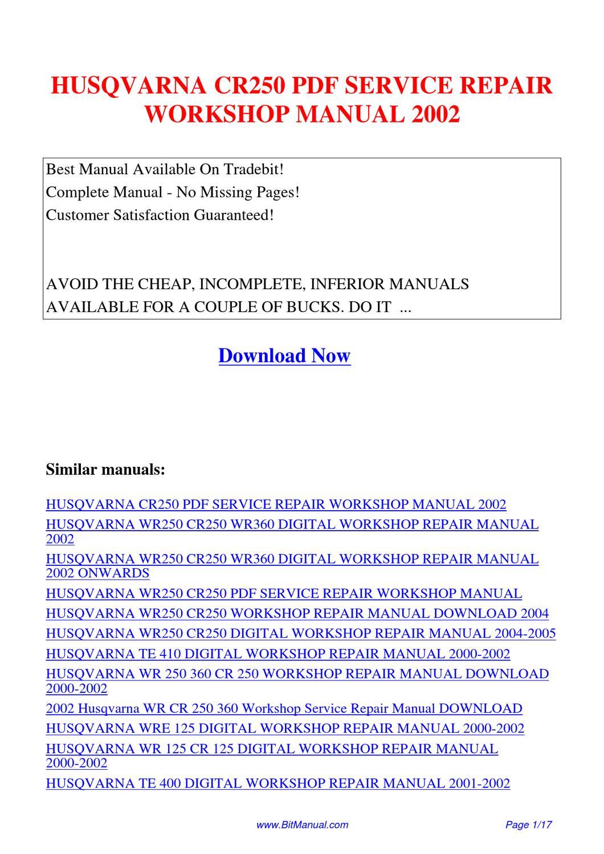 Husqvarna Cr250 Service Repair Workshop Manual 2002 By