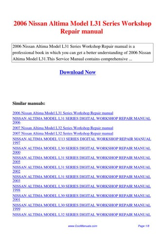 2006 nissan altima manual book