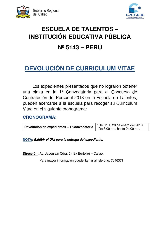 DEVOLUCIÓN DE CURRICULUM VITAE - 1° CONVOCATORIA by alan delgado ...