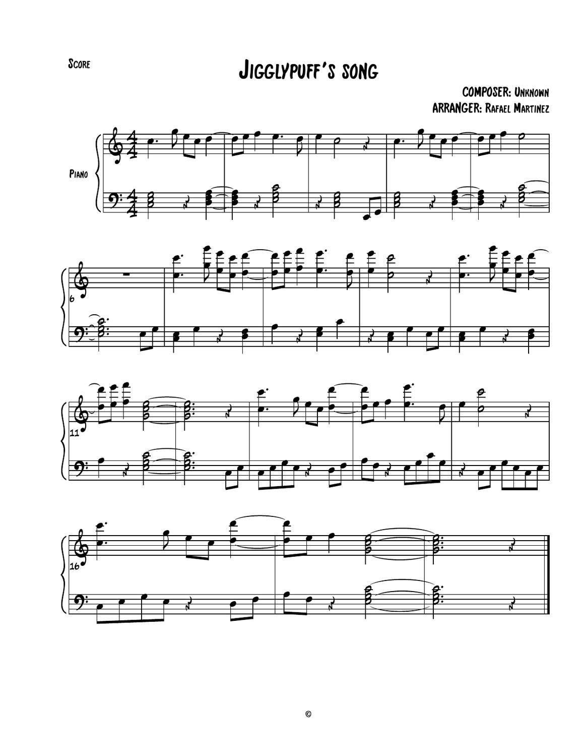 Jigglypuff's Song sheet music by Rafael Martínez - issuu