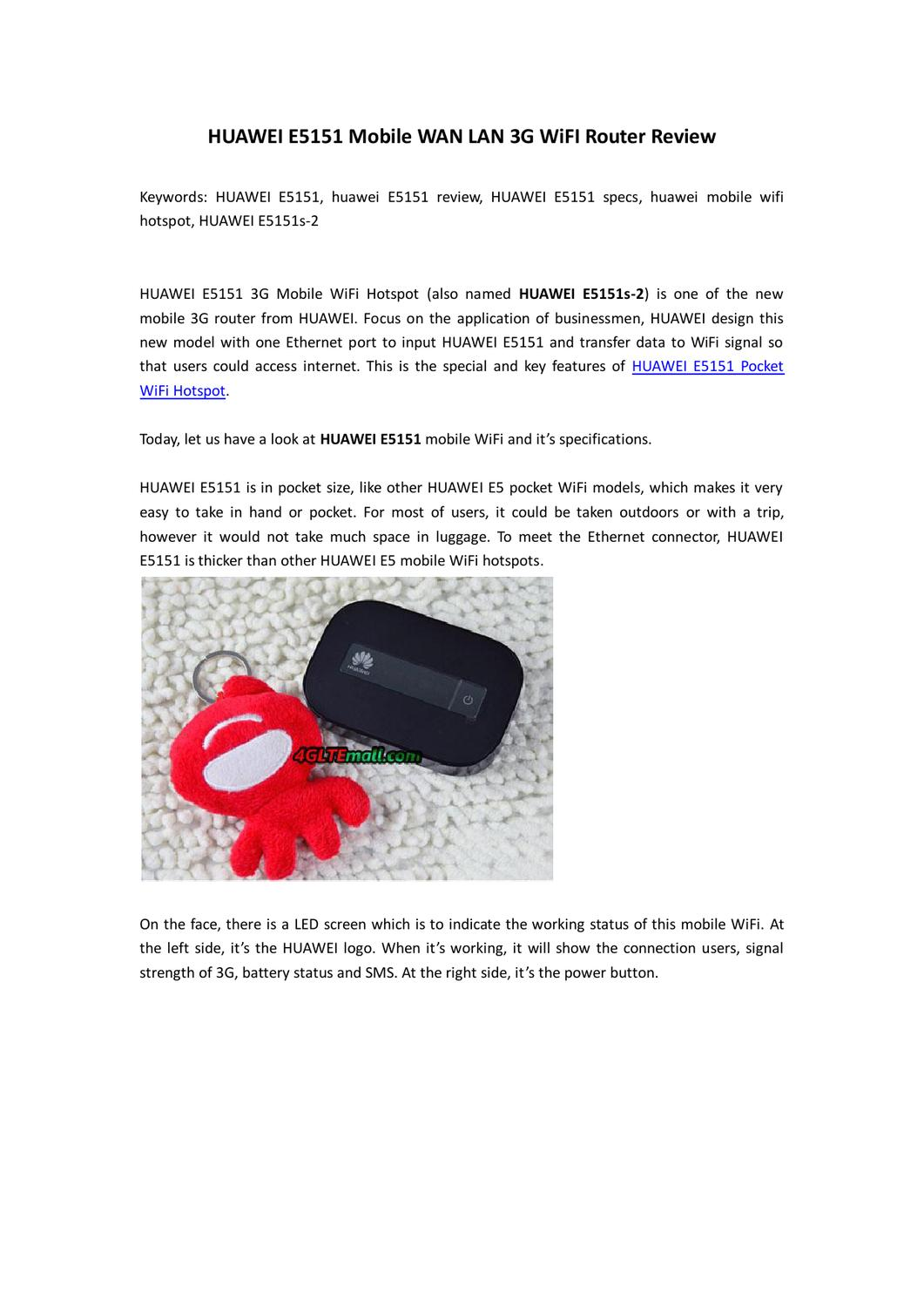 HUAWEI E5151 Mobile WAN LAN 3G WiFI Router Review by Lte Mall - issuu