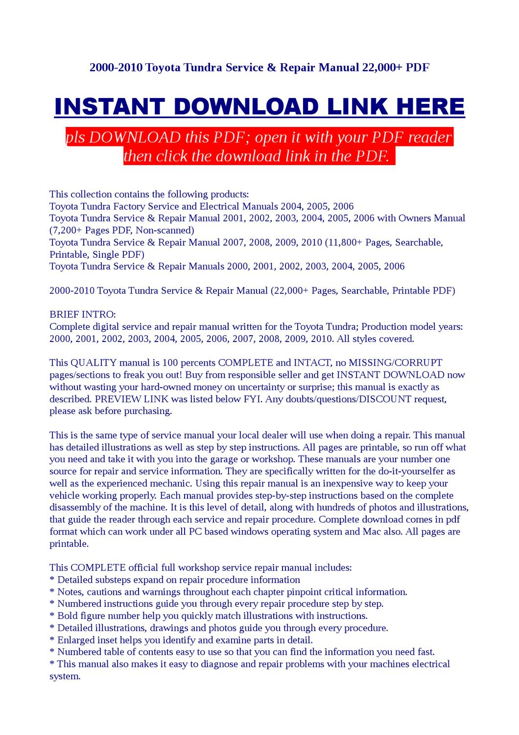 2000 2010 Toyota Tundra Service Repair Manual 22000 Pdf By Electrical Schematics Vorrax Issuu
