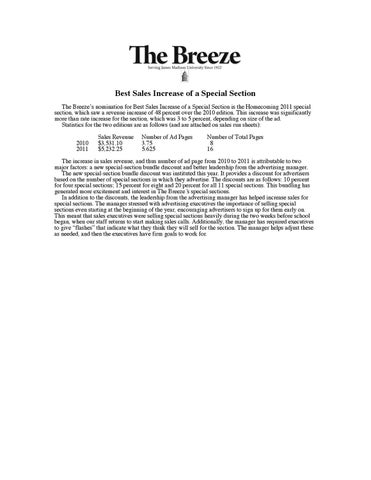 097f3c448bc Best Sales Increase of a Special Section The Breeze s nomination for Best  Sales Increase of a Special Section is the Homecoming 2011 special section