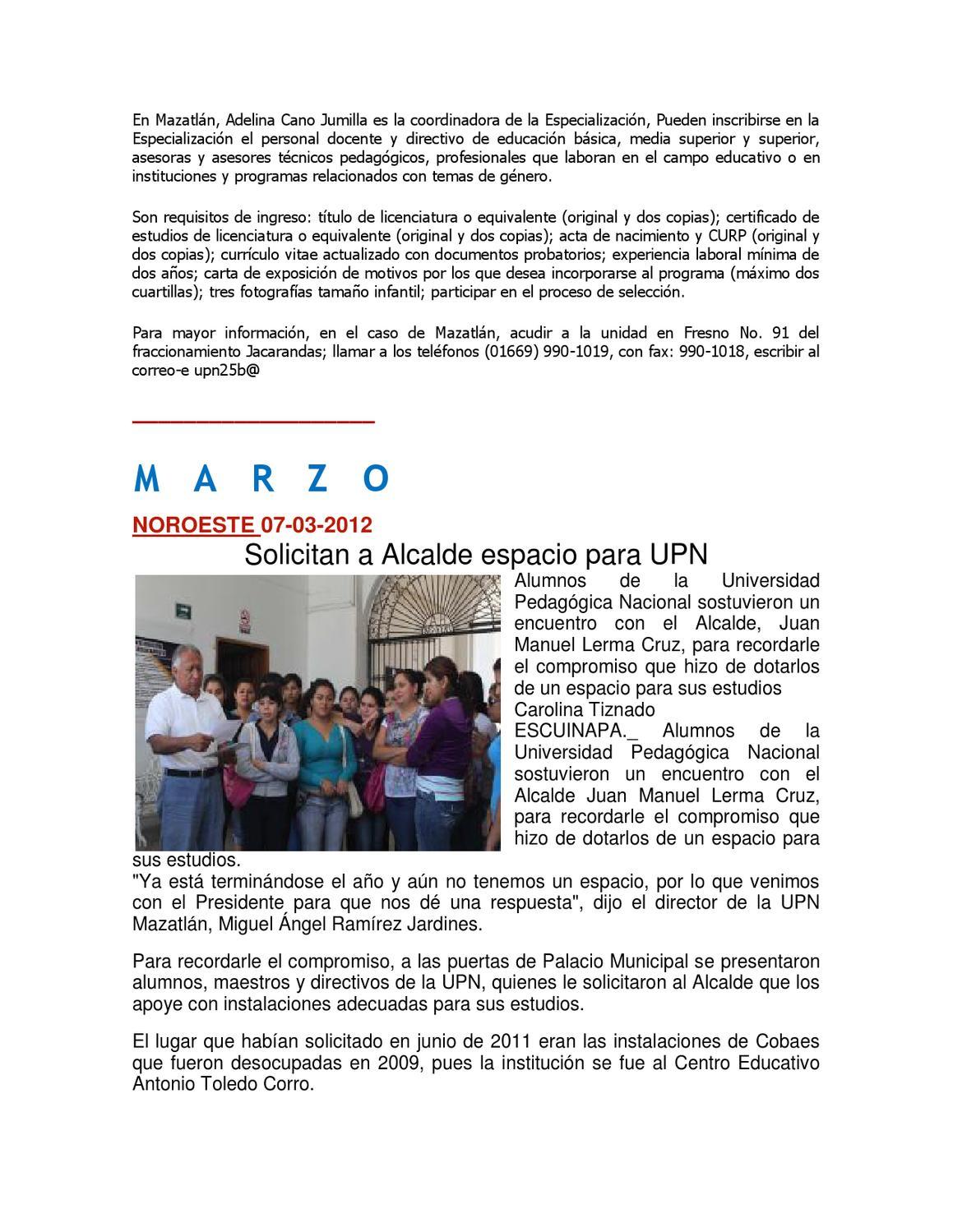 INFORMATIVO 2012 DE UPN MAZATLÁN by Juan Lizárraga Tisnado - issuu