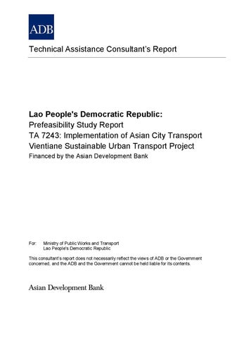 Prefeasibility Report Of Implementation Of SUT In Vientiane