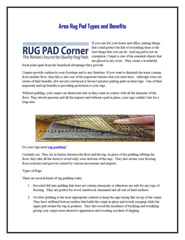 Area Rug Pad Types And Benefits By