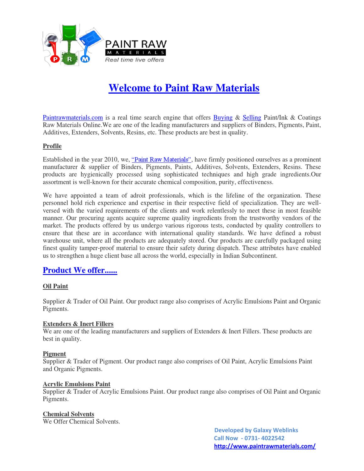 Paint Raw Material Suppliers by Paint Raw Materials - issuu