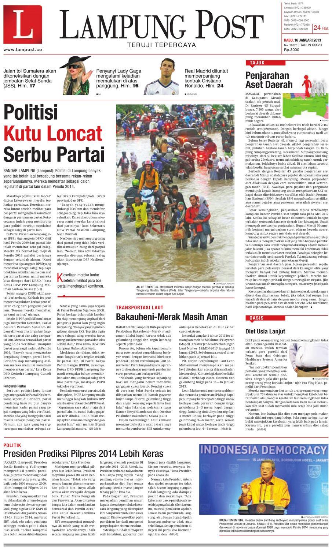 Lampungpost Edisi 16 Januari 2012 By Lampung Post Issuu