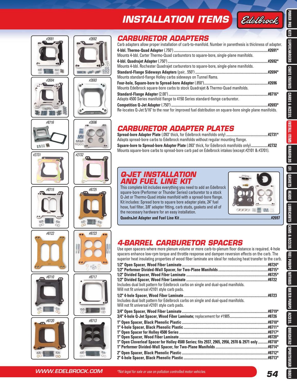 Edelbrock 2694 Performer Series Carb Adapter Standard Flange Sideways