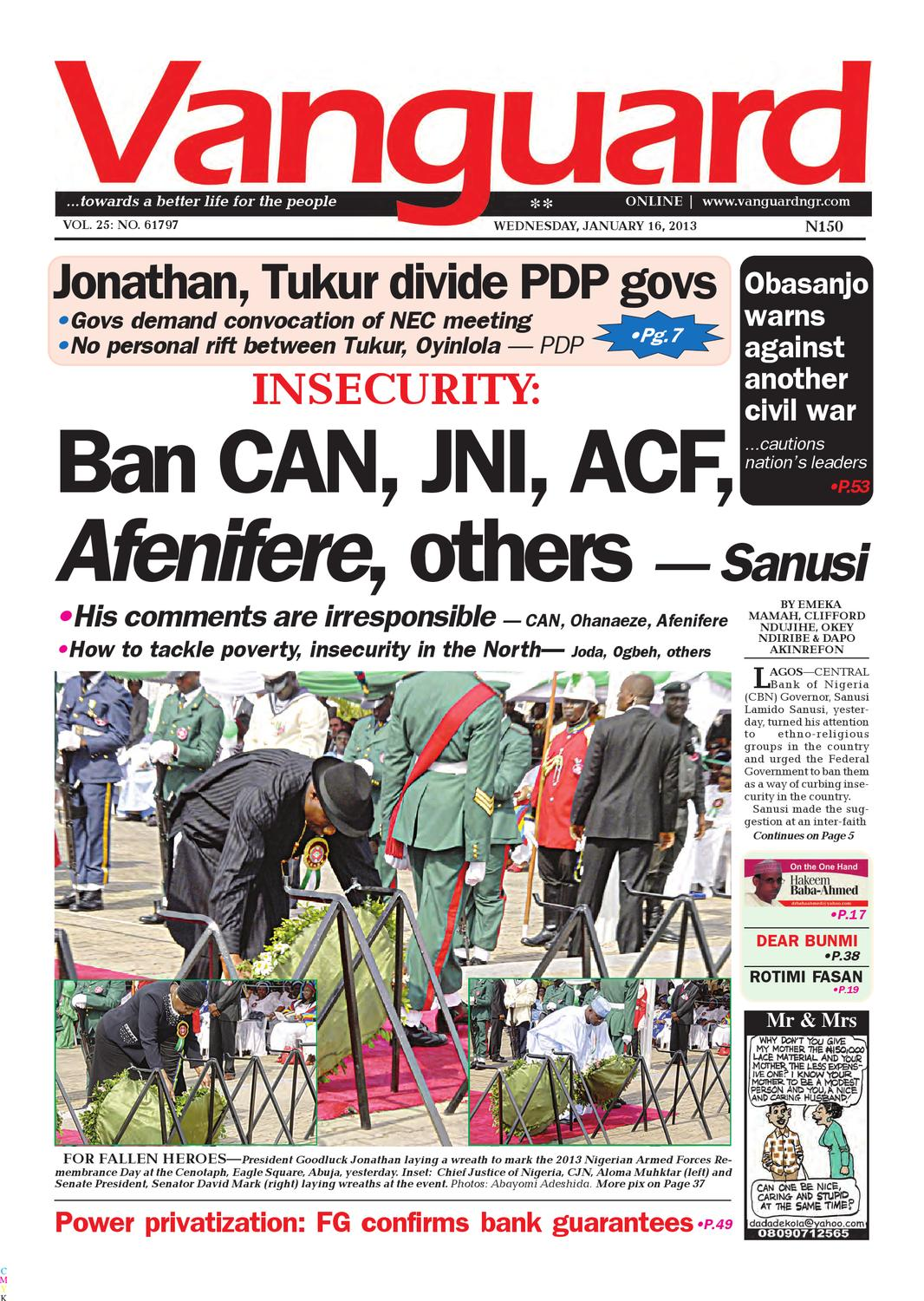 INSECURITY: Ban CAN, JNI, ACF,Afenifere, others — Sanusi by