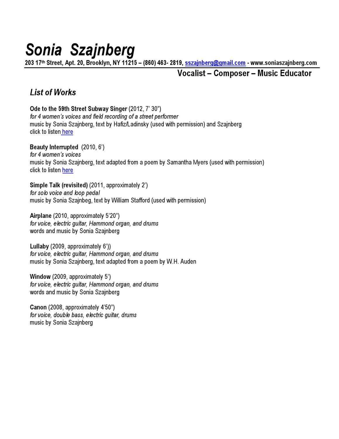 Works List 2013 By Sonia Szajnberg Issuu