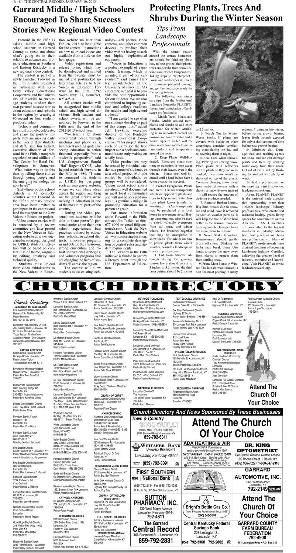 Garrard Central Record - January 10, 2013 by The Garrard