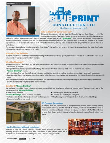 St lucia business focus 62 by ams st lucia issuu page 38 business spotlight who is blueprint constrution ltd blueprint construction malvernweather Gallery