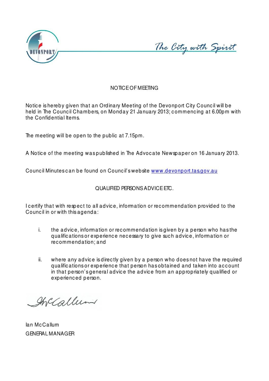 Agenda Council Meeting - 21 January 2013 by Devonport City