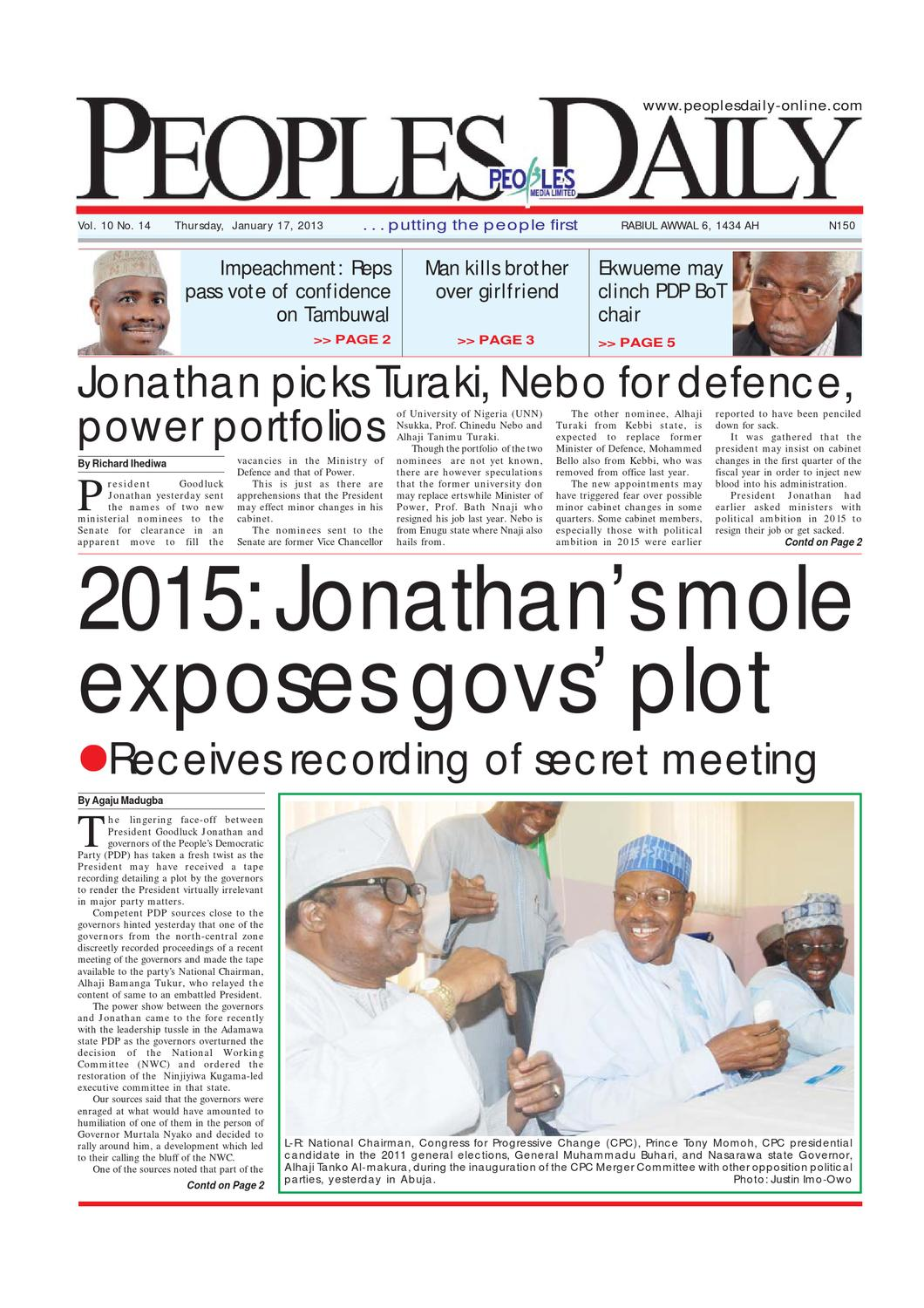 Peoples Daily Newspaper, Thursday 17, January, 2013 by